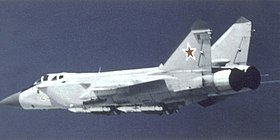 Left side view of a Soviet MiG-31 Foxhound.jpg