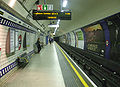 Leicester Square stn Piccadilly westbound look east.JPG