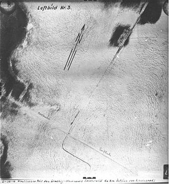 Road of Life - Luftwaffe aerial reconnaissance photo of a section of the Ice Road, 60 km east of Leningrad