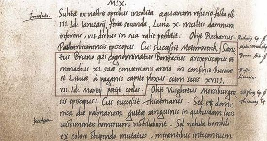 Lithuania's name first written in 1009, in the annals of the Quedlinburg Abbey, Germany. Lietuvos vardas. The first name of Lithuania in writing 1009.jpg