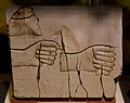 Limestone trial piece of hands. From Amarna, Egypt. Reign of Akhenaten, late 18th Dynasty. The Petrie Museum of Egyptian Archaeology, UCL, London.jpg