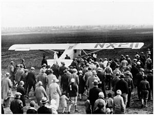 Roosevelt Field (airport) - Nearly a thousand people assembled at Roosevelt Field to see Charles Lindbergh take off in the Spirit of St. Louis, May 20, 1927
