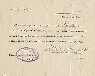 Lint voor Verwonding - Initial version of the certificate of the Lint voor Verwonding, awarded to Luitenant I.J. Meyer of the ZAR forces