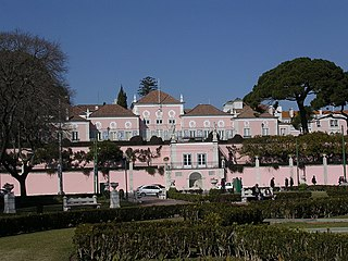 Belém Palace building in Santa Maria de Belém, Lisbon District, Portugal and official residence of the President of the Portuguese Republic