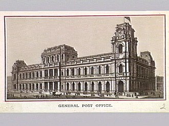General Post Office, Melbourne - Image: Lithograph of General Post Office Melbourne in 1880s