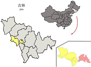 Location in Siping City and Jilin
