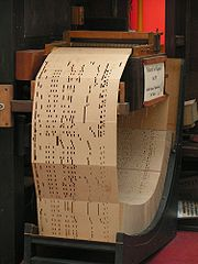 Punch card system of a music machine. Also referred to as Book music, a one-stop European medium for organs