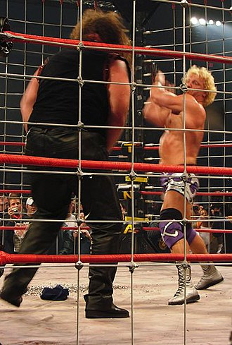 Jeff Jarrett - Jarrett hitting Abyss with a thumbtack-filled guitar during the Lethal Lockdown match at the April 15, 2007 Lockdown 2007 pay-per-view