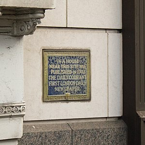 The Daily Courant - A marker in London, near the location The Daily Courant was first published
