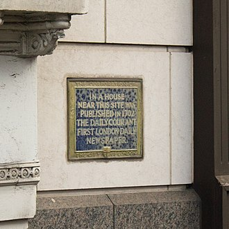 The Daily Courant - A marker in London, close to where The Daily Courant was first published