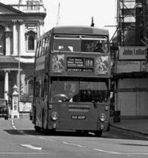 London Buses route 188 - Daimler Fleetline on The Strand in June 1983