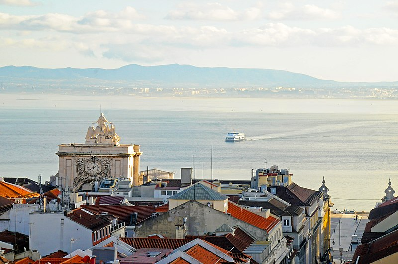 File:Looking South over Baixa to the Tagus River, Lisbon, Portugal - Panoramio.jpg