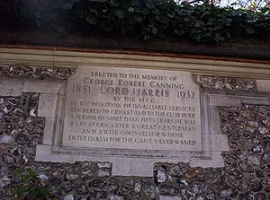 George Harris, 4th Baron Harris - This memorial stone to Lord Harris is in the Harris Garden at Lord's