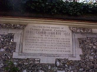George Harris, 4th Baron Harris - Memorial stone to Lord Harris in the Harris Garden at Lord's