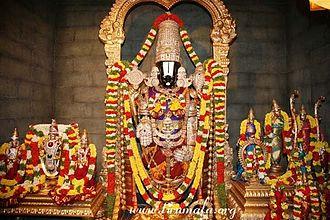 Venkateswara Temple, Tirumala - A replica of Garbhagriha of Tirumala Venkateswara Temple depicting Left-SriDevi BhuDevi Sametha Malayappa Swamy, Center-Lord Venkateswara Main Deity(Dhruva beram),Center bottom-Bhoga Srinivasa, Right- Ugra Srinivasa, Sita Lakshmana Sametha Sri Rama, Sri Krishna, Rukhmini