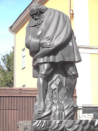 Oregrounds iron - Statue of Louis de Geer (1587-1652) in Norrköping, Sweden. De Geer introduced the Walloon method to Sweden.