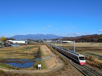 Tōbu Kiryū Line - A 200 series EMU on a Ryomo limited express service on the Kiryu Line in November 2013