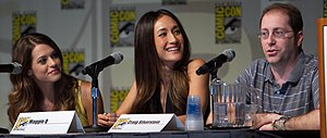 Nikita (TV series) - Lyndsy Fonseca, Maggie Q, and Craig Silverstein at the San Diego Comic-Con, July 2010