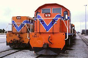 WAGR M class (diesel) - Image: MA1862 + M1851 Forrestfield, 1986