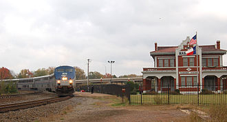 Texas Eagle - Amtrak's westbound Texas Eagle at the restored Texas and Pacific station in Marshall, Texas, in October 2005.