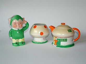 Shelley Potteries - Mabel Lucie Attwell designed Boo Boo tea set, late 1920s