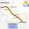 Mahamana Express (Varanasi - New Delhi) route map.png