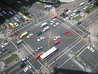 Intersection (road) - The intersection between Ayala Avenue and Makati Avenue in Makati City, the Philippines