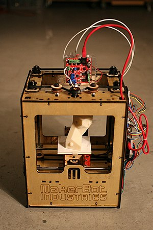 3D printing - A MakerBot three-dimensional printer.