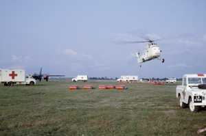 Nigerian Civil War - A makeshift airport in Calabar, Nigeria, where relief efforts to aid famine victims were deployed by helicopter teams
