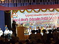 Malati Chandoor addressing at World Telugu writer' conference.JPG