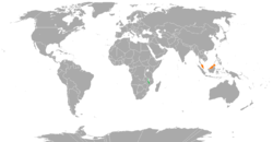 Map indicating locations of Malawi and Malaysia