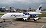 Malaysia Airlines A380-841 (9M-MNA) pushback at London Heathrow Airport.jpg