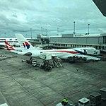 Malaysian's A330-300 at AKL on its turnaround to KUL (26265962392).jpg