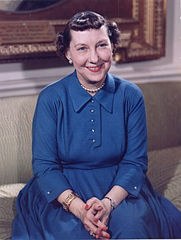 Mamie Eisenhower color photo portrait, White House, May 1954