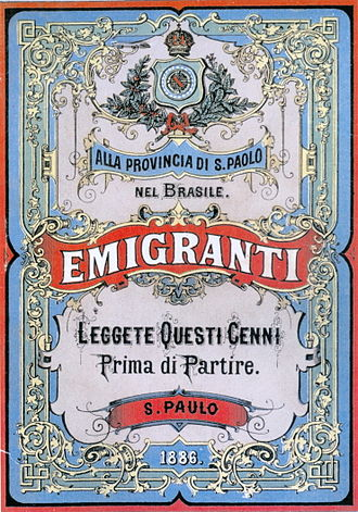 "Italian Brazilians - ""To the Province of S. Paulo, in Brazil. Immigrants: read these hints before leaving. S. Paulo, 1886""."