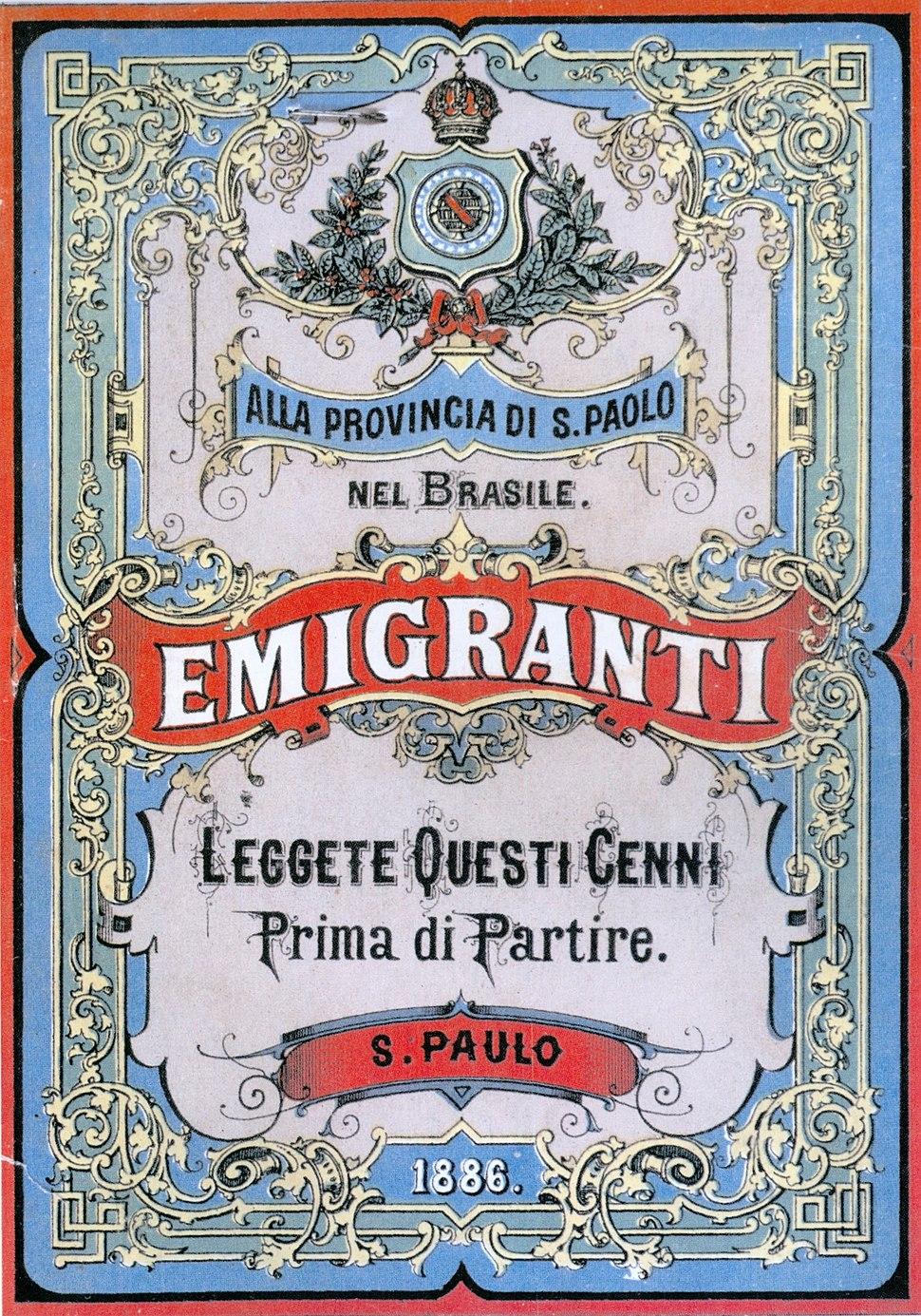 Manifesto Emigrazione San Paolo Brasile