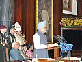 Manmohan Singh addressing at the function to mark the 60th anniversary of the first sitting of the Parliament of India, in Central Hall of Parliament House, in New Delhi. The President, Smt. Pratibha Devisingh Patil.jpg
