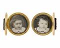 Manschettknappar med fotografiporträtt av Ebba och Ellen von Hallwy, 1872 - Hallwylska museet - 110555.tif
