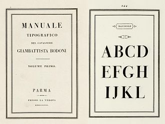 Bodoni - The 1818 Manuale-Tipografico specimen manual of Bodoni's press, published after his death.