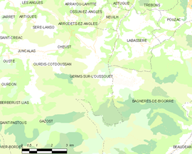 Mapa obce Germs-sur-l'Oussouet