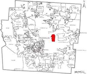 Map of Franklin County Ohio With Bexley labeled.png