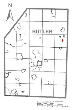 Map of Karns City, Butler County, Pennsylvania Highlighted.png