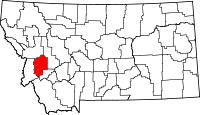 Map of Montana highlighting Granite County
