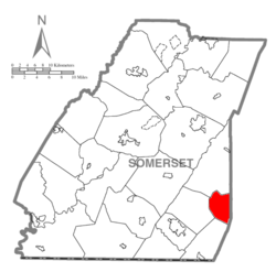 Map of Somerset County, Pennsylvania Highlighting Fairhope Township