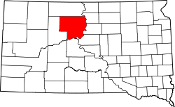 map of South Dakota highlighting Dewey County