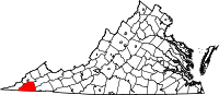 Map of Virginia highlighting Scott County