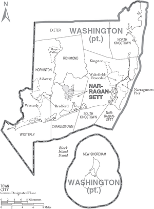 Washington County, Rhode Island - Map of Washington County, Rhode Island showing towns, census-designated places, and Narragansett tribal lands