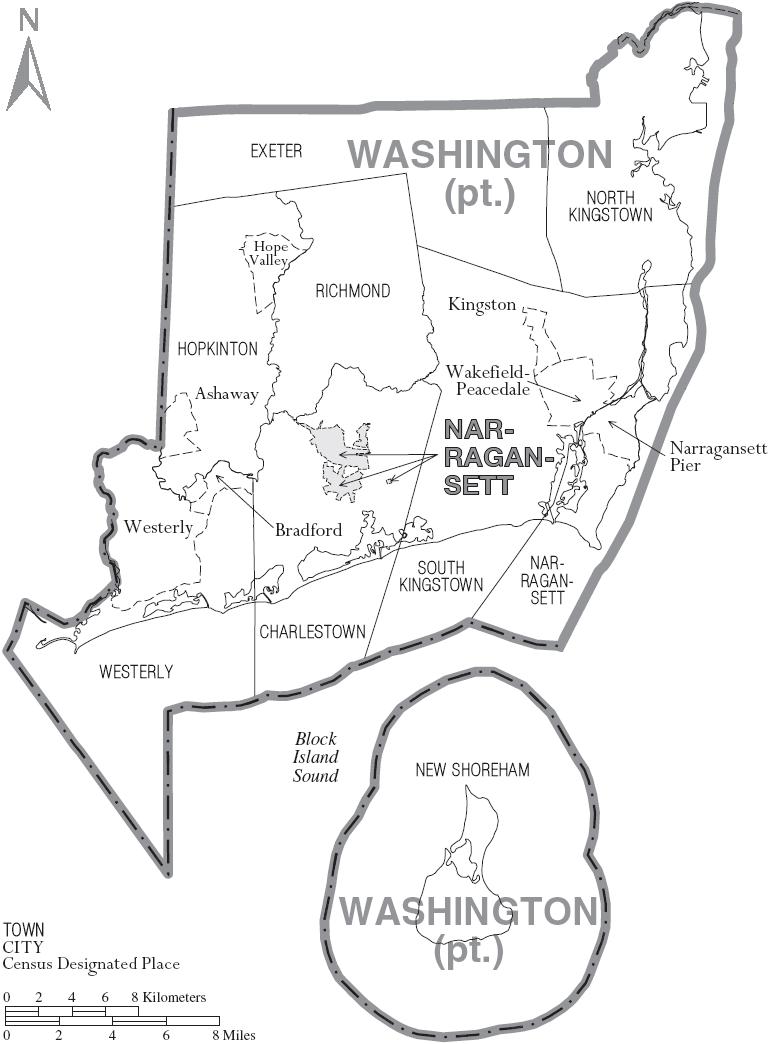 Map of Washington County Rhode Island With Municipal Labels