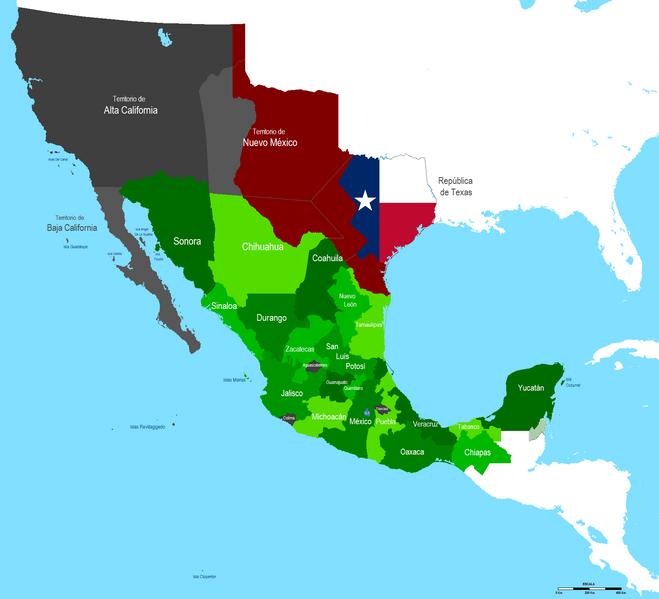 File mapa mexico 1837 png - Mappa messico mappa da colorare pagina ...