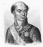 Black and white print of a bald man with a cleft chin. He wears a dark military uniform of a later period with much gold lace, the deep scar over his left eye was from a saber cut during the Battle of Novi.